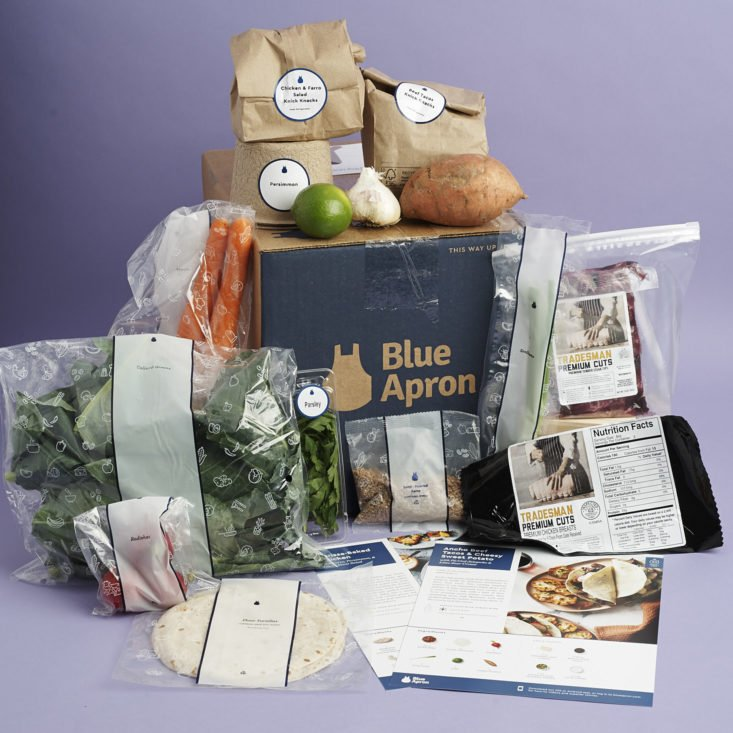 full contents of Blue Apron Box
