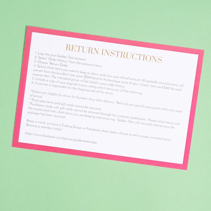 golden tote info card