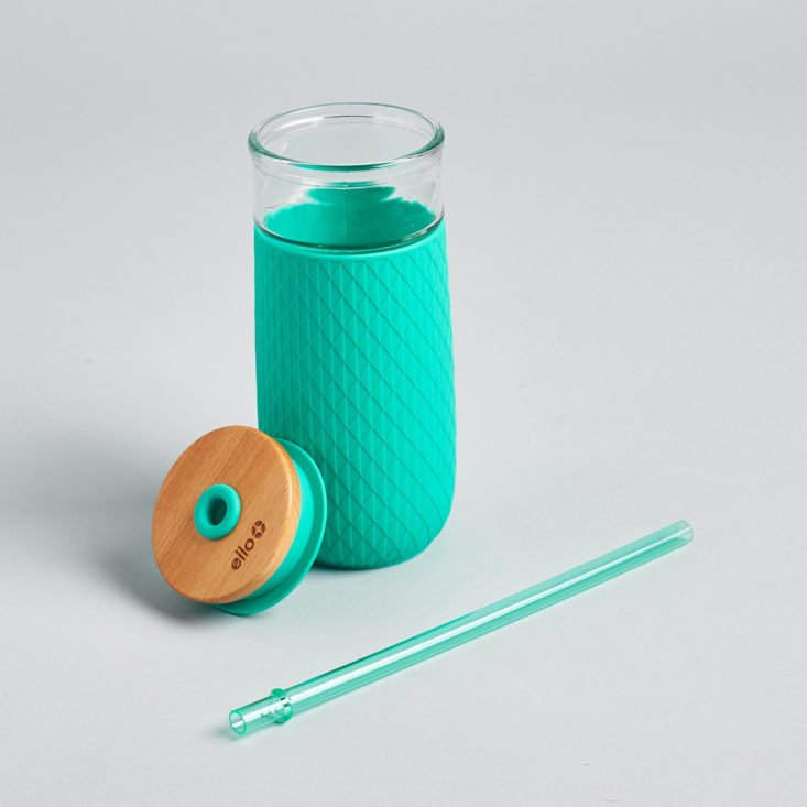 glass water bottle with straw
