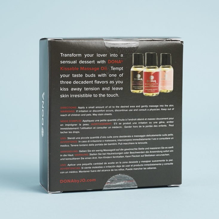 back of DONA Let Me Kiss You Kissable Massage Oil set