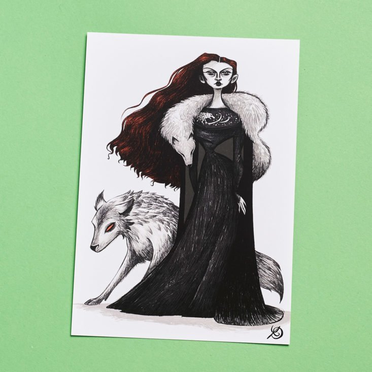 drawing of woman and wolf