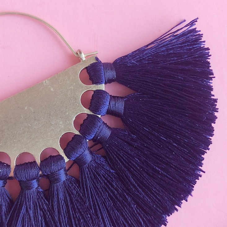 Gold and Navy Fan Statement Earrings detail