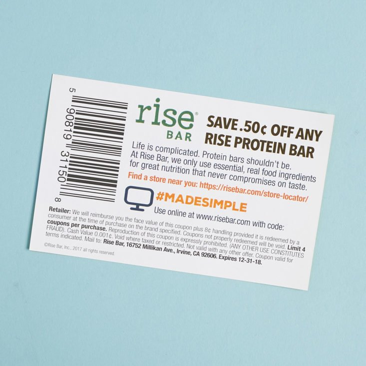 coupon for rise bar