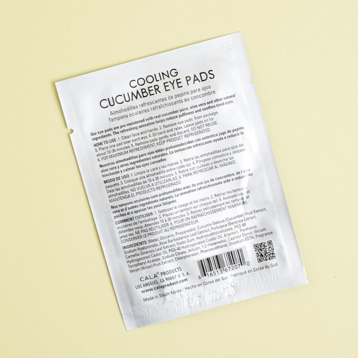back of Cala cooling cucumber eye pads package