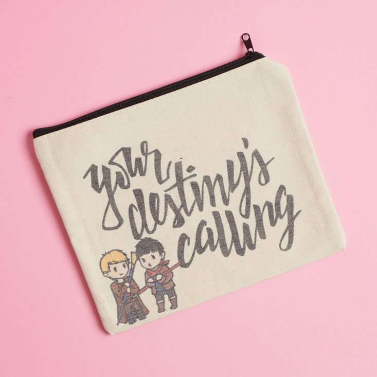 canvas pouch with saying