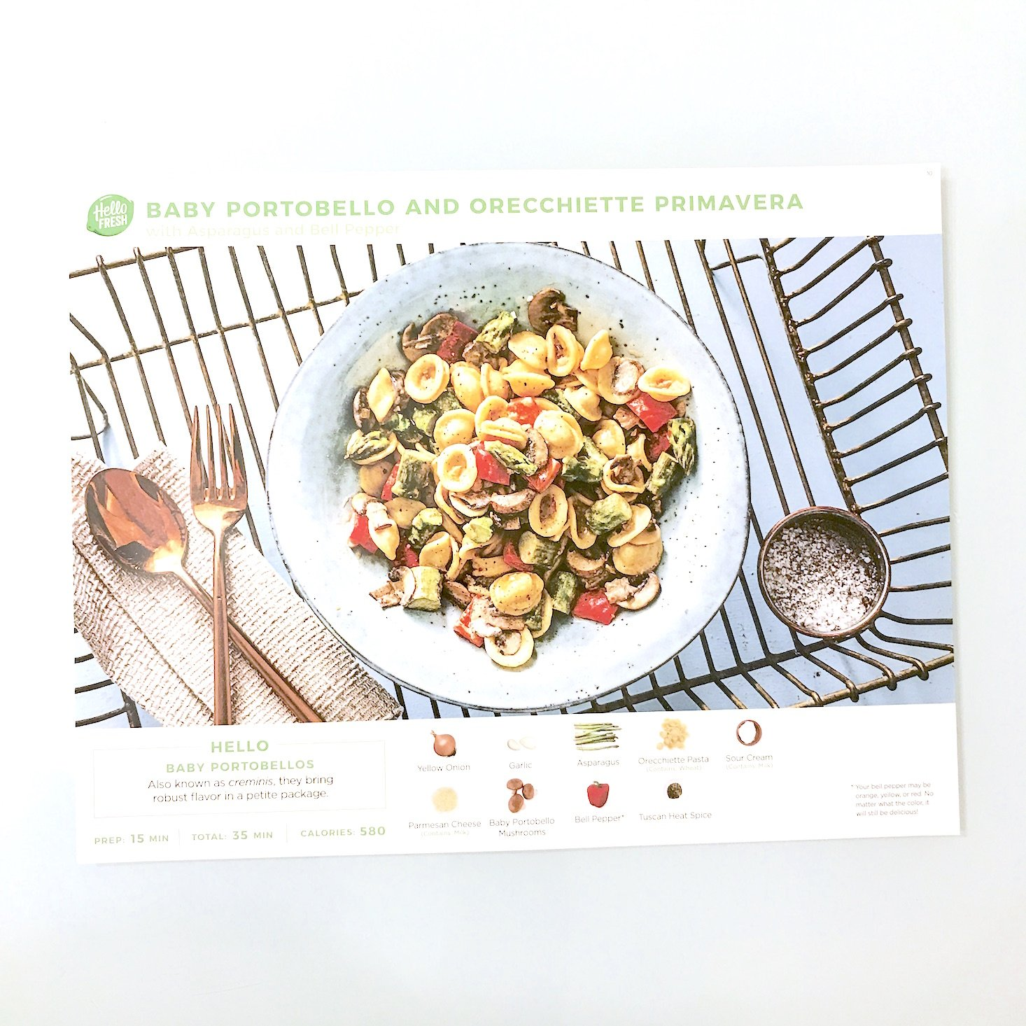 Hello Fresh February 2018 - pasta recipe card