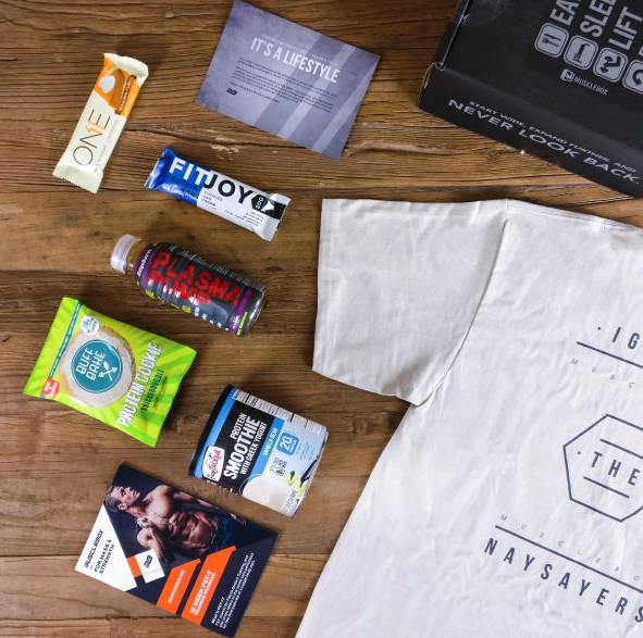 muscle box example subscription box with supplements and tshirt