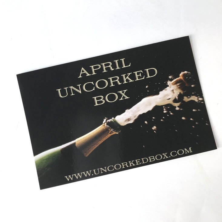 Uncorked April 2018 - Card