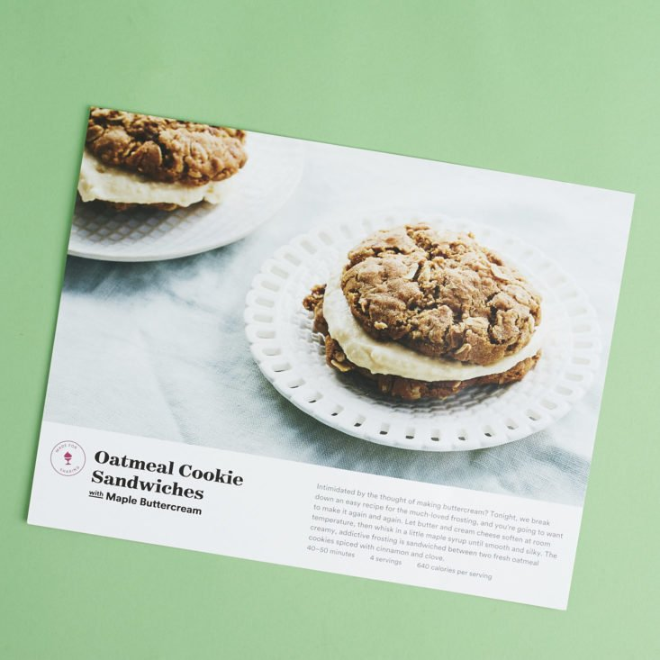 recipe card for Oatmeal Cookie Sandwiches with Maple Buttercream
