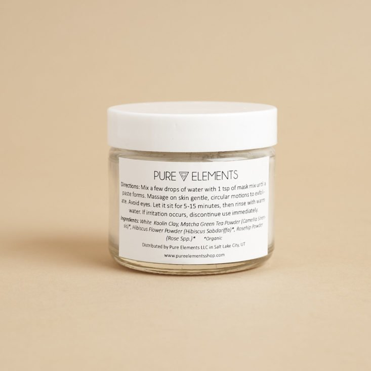 Directions + Ingredients for Pure Elements YOUTH Exfoliating Botanical Mask