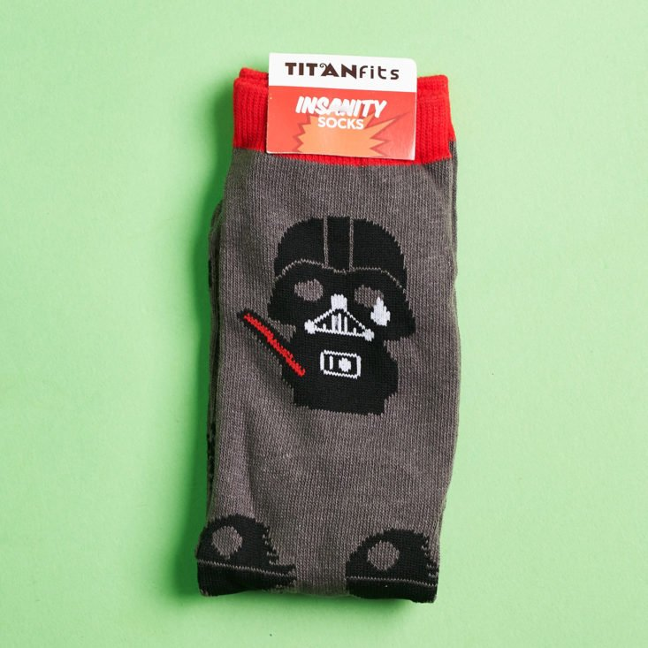 Super Geek Box September 2018 - Titanfits Insanity Socks with Lable Front 1
