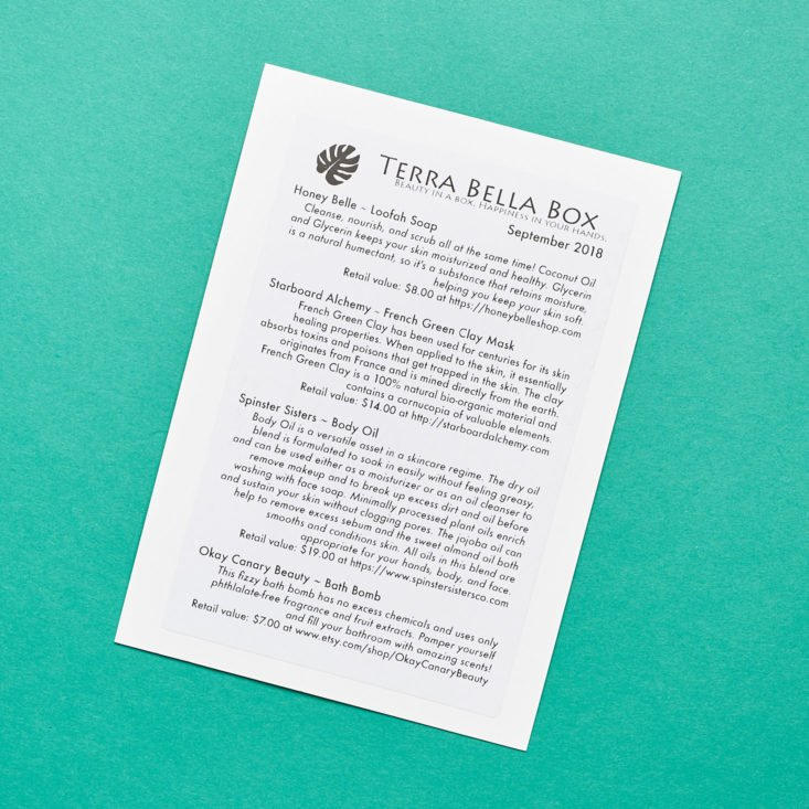 terra bella box product list