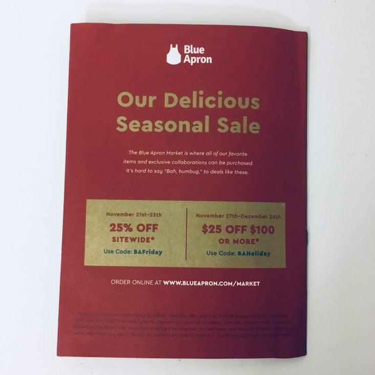 Blue Apron Subscription Box Review November 2018 - Information Card Back Top