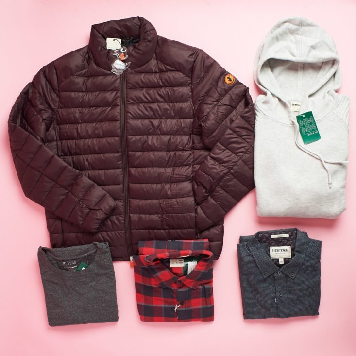 Stitch Fix Mens puffy coat, hoodie, and three shirts