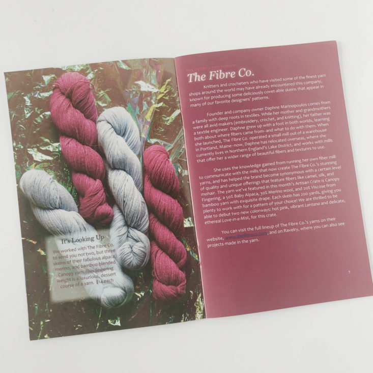 KnitCrate Artisan Review February 2019 - Yarn Info Pages