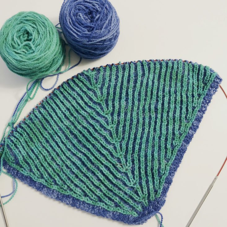 KnitCrate Membership Review February 2019 - Shawl Progress Front