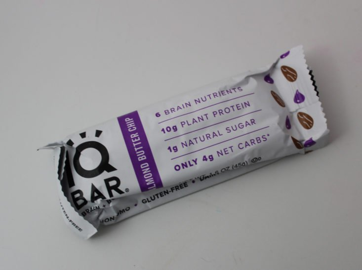 Clean Fit Box March 2019 - IQ Bar Almond Butter Chip Package Front