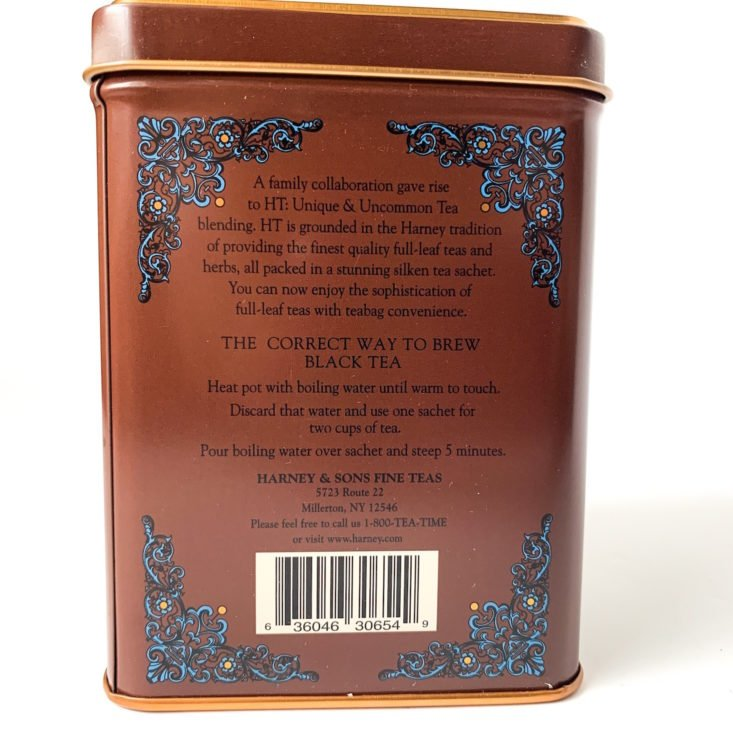 Harney & Sons Review February 2019 - Chocolate Tea Tin 2 Back