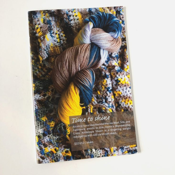KnitCrate Membership Review March 2019 - KnitCrate Inspirations Booklet Yarn Information Pages Top