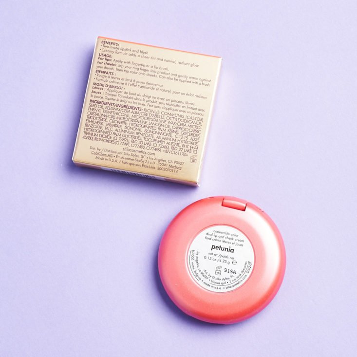 Birchbox Limited Edition In Bloom April 2019 stila blush back info