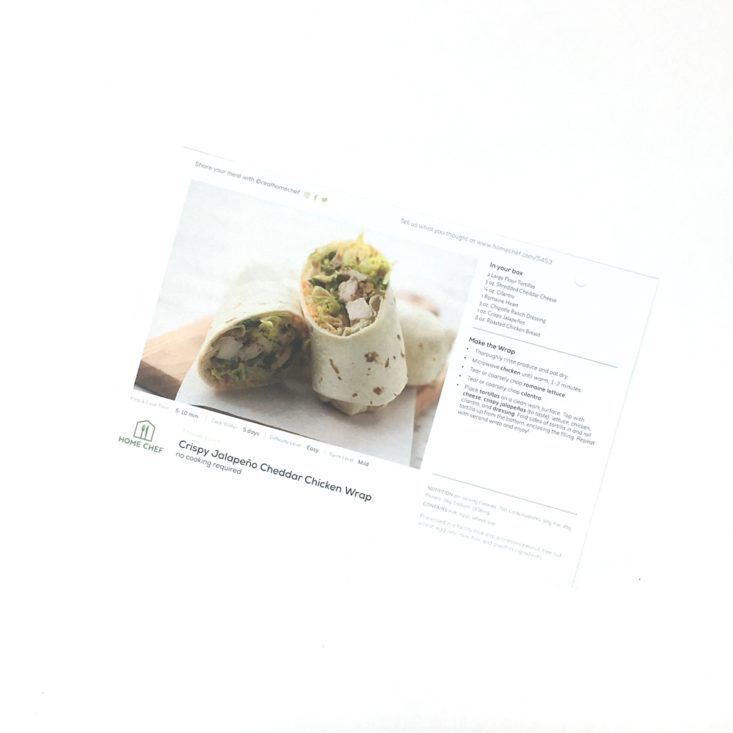 Home Chef Subscription Box Review April 2019 - WRAP RECIPE CARD