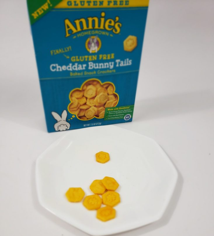 Monthly Box Of Food And Snack Review April 2019 - Annie's Cheddar Bunny Tails In Plate Front