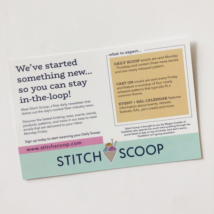 PostStitch KnitStitch May 2019 Review - Card Two Back