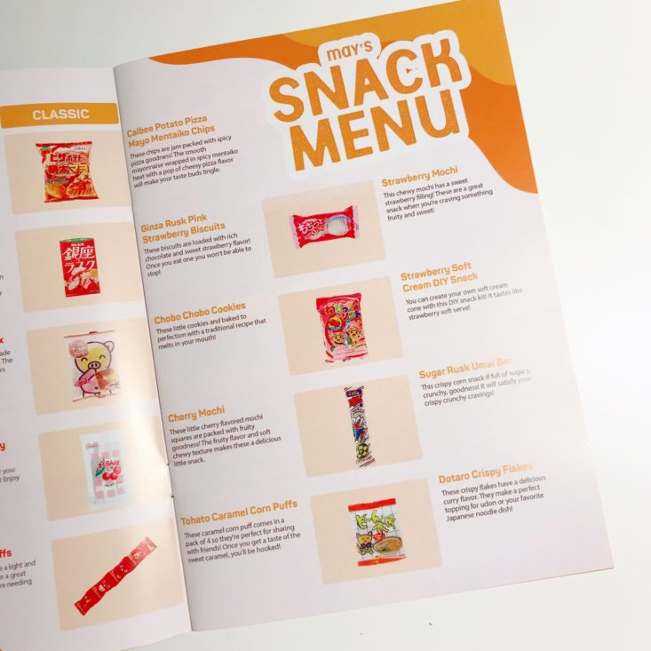 TokyoTreat Classic May 2019 - Booklet Menu