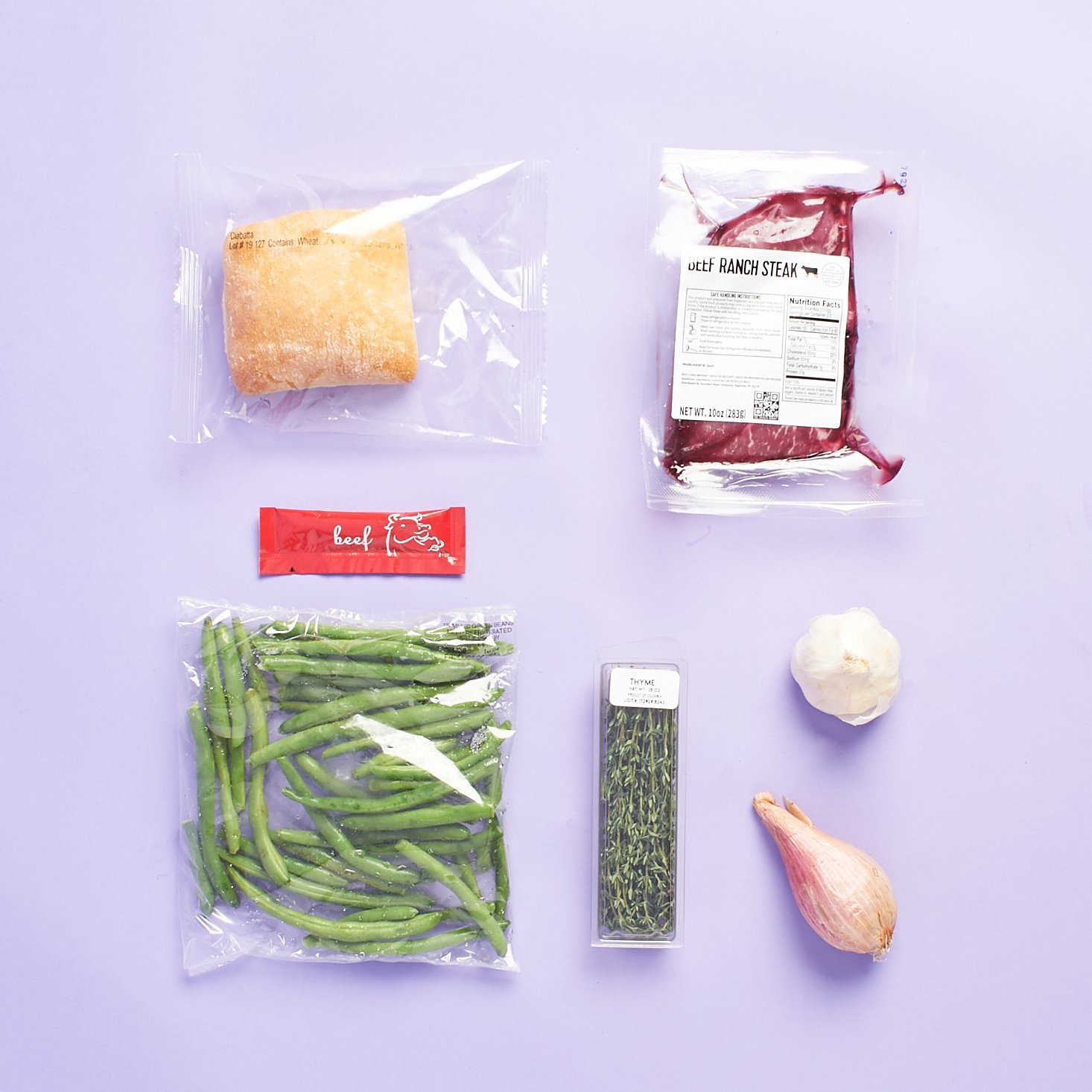 ingredients for Party Thyme Steak with Garlic Ciabatta and Roasted Green Beans in group