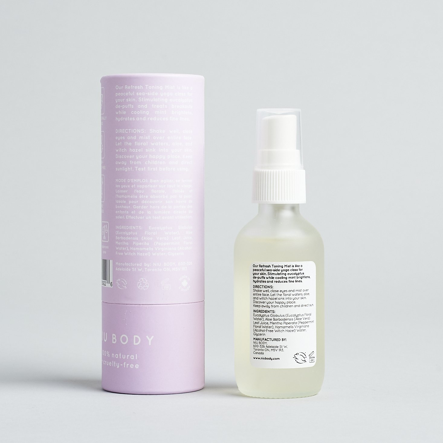bacl of Niu Body Refresh Eucalyptus + Mint Toning Mist with box