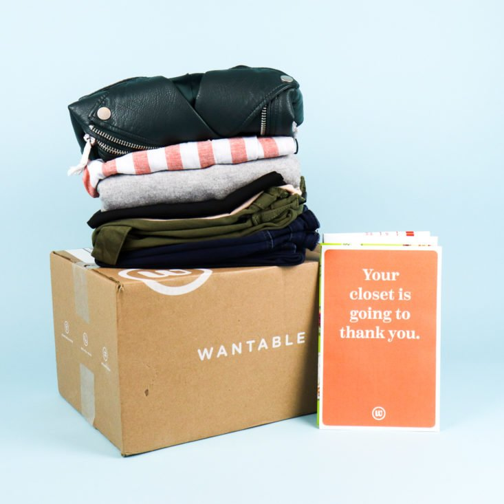Stack of women's clothing from Wantable Style Edit